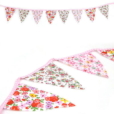 Pastel Ditsy Flower Fabric Bunting Flag Banner - Approx 2 metre Shabby Chic