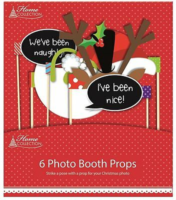 6 x Christmas Photo Booth Props on A Stick Party Fun Xmas Santa Hat Reindeer