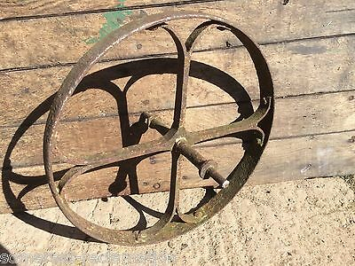 Old Reclaimed Wrought Iron 4 Spoke Implement Wheelbarrow Wheel Ornament 19""