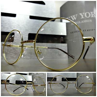Men or Women VINTAGE Style Clear Lens EYE GLASSES Small Round Gold Fashion Frame
