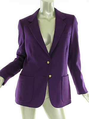 Vintage Ellen Tracy Purple Suit Blazer Jacket Gold Tone Buttons Womens Sz 10 USA