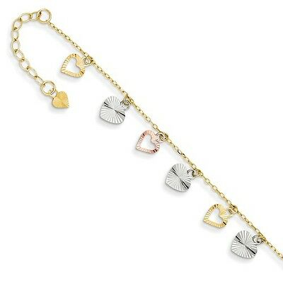 14K Three Tone Gold 9in Adjustable Heart Anklet