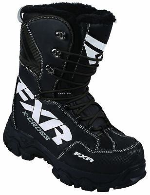 FXR Mens Black/White X Cross Lace Snowmobile Boots Snow Snocross 2017