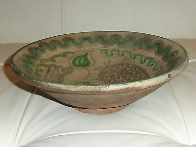 Antique And Rare Stoneware Pottery Bowl W/ An Exuberant Hand Painted Decoration