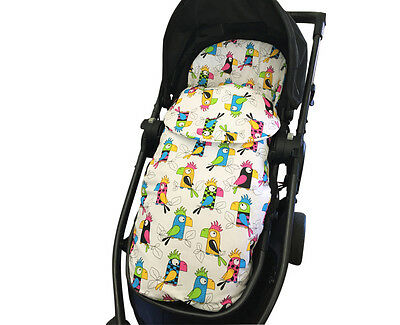 GOOSEBERRY FOOTMUFF PRAM SEAT LINER SLEEPING BAG 2in1 COSY TOES Cotton Parrots
