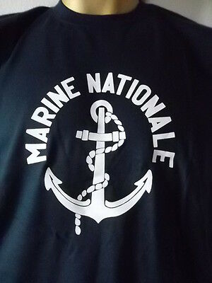 Tee-shirt marine nationale ancien logo obsolète S vintage