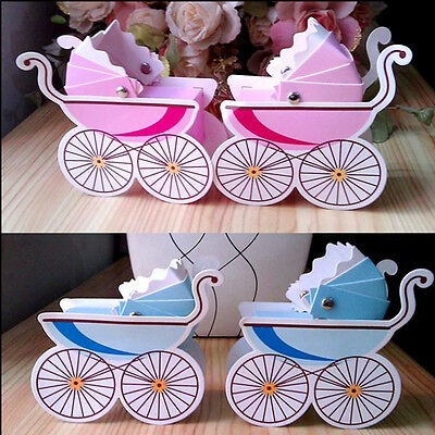 10pcs Baby Stroller Wedding Party Baby Shower Favor Gift Ribbon Candy Box Chic