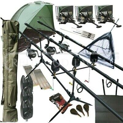 Mega Carp Fishing Set Up Kit Rods Reels Rigs Alarms Bait Tackle Tools Mat