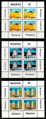Rhodesia 1972 RHOPHIL 72 minature sheets SG MS474/6 unmounted mint.