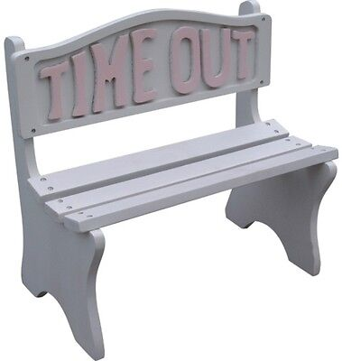 Toddler Kids Time Out White Frame With Pink Lettering Bench Seat New