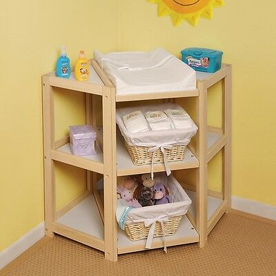 Baby Infant Nursery Diaper Corner Natural Changing Table Station Furniture