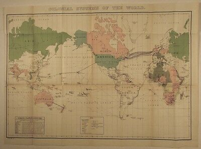 Colonial Systems of World large folding map 1902 Submarine Telegraph chart
