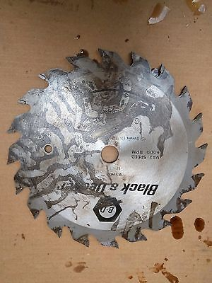 "Black & Decker  wood Saw Blade 185mm x 2.5mm x 5/8"" Bore . 20T"