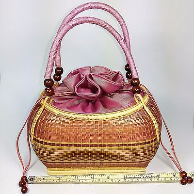 Bag Machine woven bamboo Gorgeous delicate Lined with silk band beautiful charm