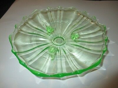 Radiant Green Depression Glass Footed Plate 2 In 1 Panels Bon Bons Mints