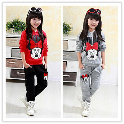 2Pcs Baby Girl Minnie Mouse Hoodie Coat Tops+Pants Set Kids Outfits Clothes Suit