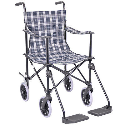 Tartan Transit Travel Wheelchair with Carry Bag by Viva Medi