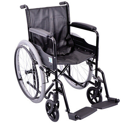 Self Propelled Steel Wheelchair with Pneumatic Rear Tyres by Viva Medi