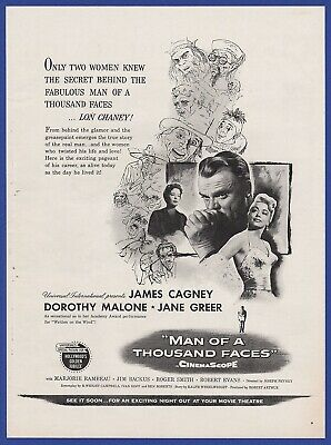 Vintage 1957 MAN OF A THOUSAND FACES James Cagney Movie Poster Print Ad