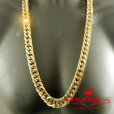 14K Yellow Gold Finish Solid Heavy 15Mm Xl Miami Cuban Curn Link Necklace Chain