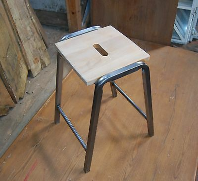 RETRO SCHOOL STOOL WITH METAL LEGS AND BEECH TOP 4 AVAILABLE ref 480