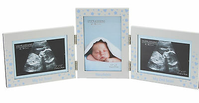 Baby's First and Second Scan Newborn Photo Frame Blue New Baby Gift Boys