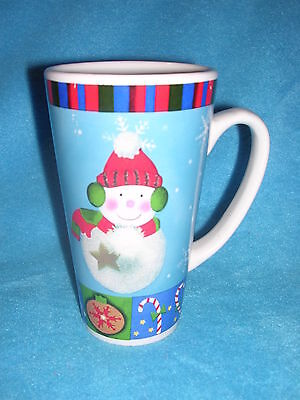 "Snowman Mug Decorated with Christmas Ornaments and Candy Canes, Tall 6"" &  22oz"