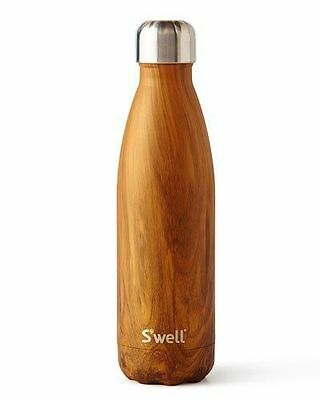 S'well Swell 17 Oz 500mL Teakwood Travel Hot/Cold Water Bottle Stainless Steel
