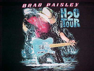 Brad Paisley 2012 H2O World Tour Cities Black Blue Water Country T-shirt 2XL
