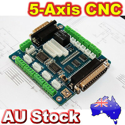 5-Axis CNC Stepper Motor Driver Controller Breakout LPT Board MACH3 Interface AU