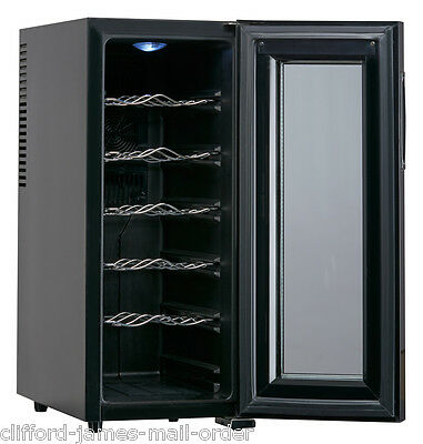 12 Bottle Wine Cellar Chiller Refrigerator Cooler | Black Mini Kitchen Fridge