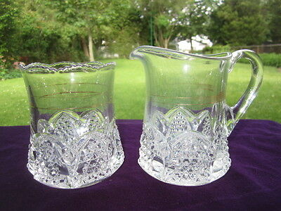EAPG GLASS LARGE SPOONER  or CREAM & SUGAR BUTTON ARCHES