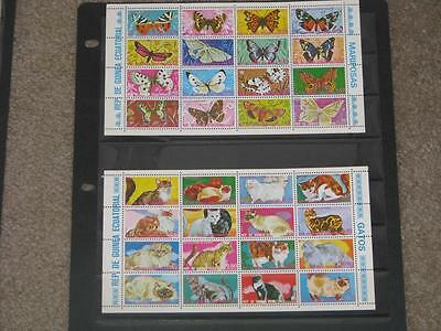 Rep. De Guinea Equatorial- Cats & Butterflies-Mini Sheets, MNH