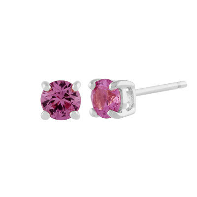 Gemondo Pink Sapphire Round Stud Earrings In 9ct White Gold 3.50mm Claw Set