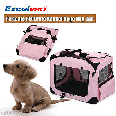 Portable Soft Fabric Pet Crate Kennel Cage Carrier House Dog Cat Pink S New UK