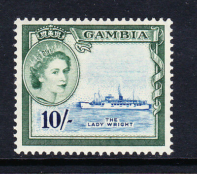 Gambia 1953 10/- Deep Green & Myrtle-Green Sg 184 Mint.