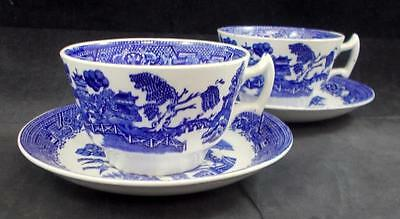 Wood & Sons BLUE WILLOW OLDER 2 Cup & Saucer Sets Vintage GREAT CONDITION