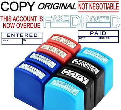 8 x Office Stamps Self Inking Stationery Work Copy Original Posted Paid Faxed