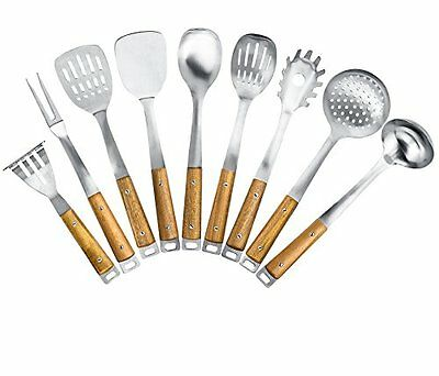 Kitchen Maestro, Stainless Steel Utensil Set with Acacia Wood Grips (9 utensils)