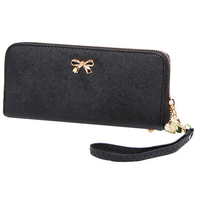 Fashion Lady Women Leather Zip Clutch Wallet Long Purse Card Holder Bags Black