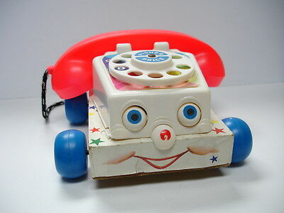 1961 Vintage Fisher Price Chatter Telephone #747 Wood Block Base