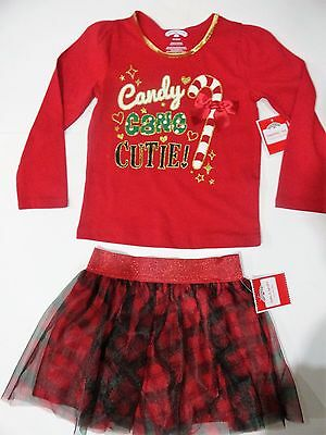 New NWT 3T or 4T Girls lot oufit shirt tulle skirt Candy Cane Cutie Christmas
