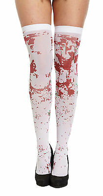 1 PAIR x HALLOWEEN WHITE BLOOD STAINED BLOODY STOCKINGS TREAT TREAT DRESSUP