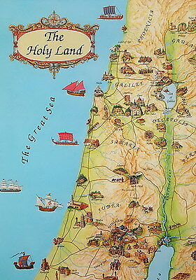 Holy Bible Land Map 4 Placemats +1 Free Christian Religious Jesus Biblical Sites
