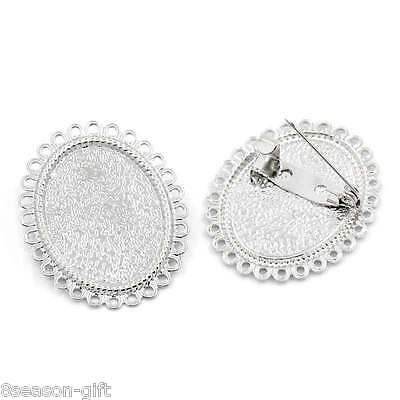"50PCs Brooches Findings Cabochon Setting Oval Flower Silver Tone 1 3/8""x1 1/8"""