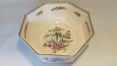 "Crown Ducal Large 8 1/2"" Octagonal Bird in Blossom Tree 1059 Bowl"