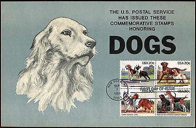 USA 1984 Dogs FDC First Day Cover Card #C35858