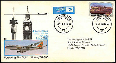 South Africa 1983 Johannesburg To London First Flight Cover #C36513