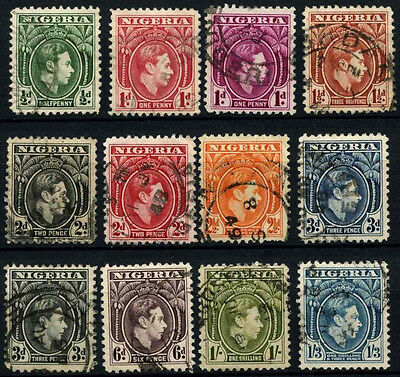 Nigeria 1938-51 KGVI Definitives x 12 Used #D32615