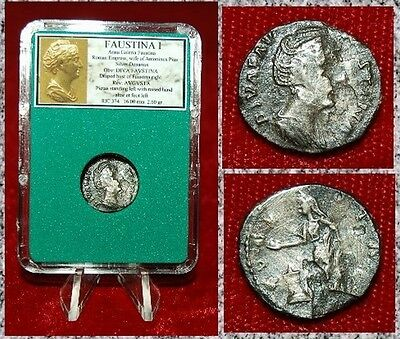 Roman Empire Ancient Coin FAUSTINA I Pietas On Reverse Silver Denarius